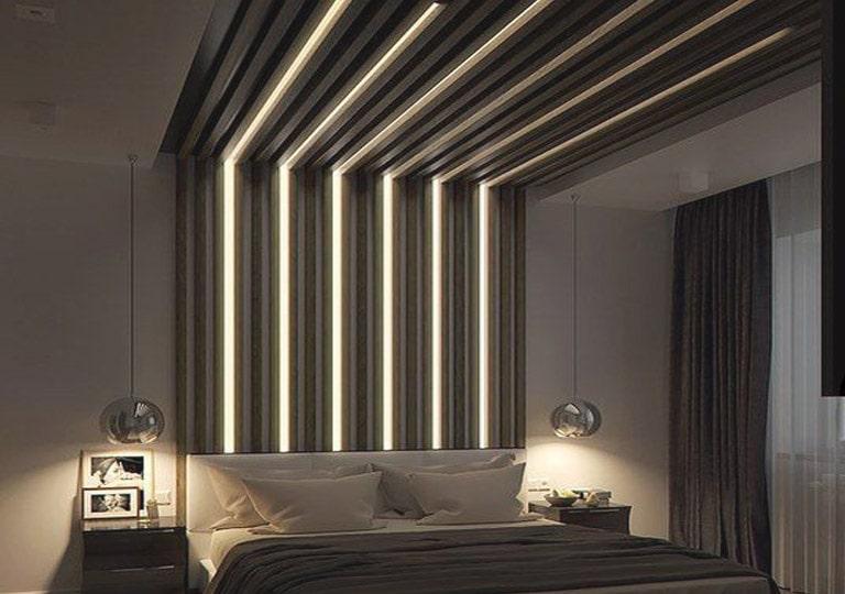 نورپردازی سقف کاذب طرح دار اتاق خواب